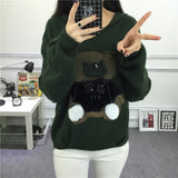 Oversized Knitted Hooded Sweaters with 3D Cuddly Teddy Bear