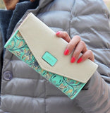 Female-Wallet-in-Envelope-Design-and-Flower-Patterned-Leather-Clutch-green