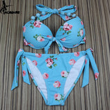 Aztec Print Floral  Brazilian Push Up Bikini Swimsuit Sets