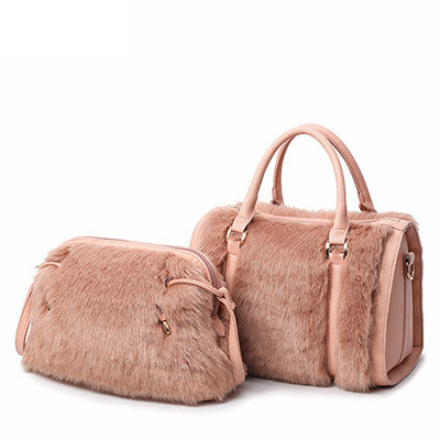Fashion Faux Rabbit Fur Women Luxury Crossbody Handbags-pink
