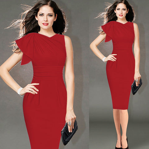 Elegant Ruffle Sleeve Ruched Party Wear To Work Fitted Stretch Slim Wiggle Pencil Sheath Bodycon Dress-red