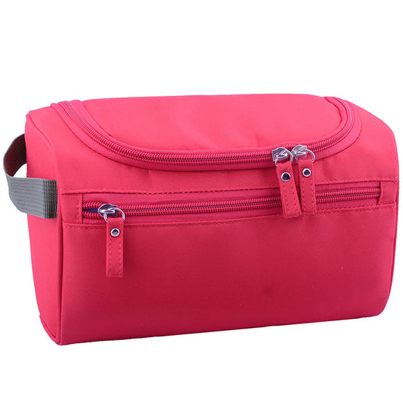 Unisex Large Waterproof Toiletries Travel Cosmetic Bag Organizer Case red color