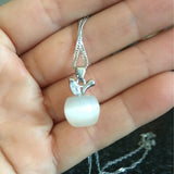 Cute Silver Plated Clavicle Necklace Charm Small Apple Opal Pendant Necklace