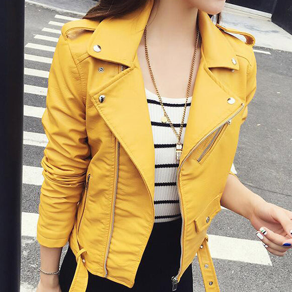 turn-down flap collar leather jacket