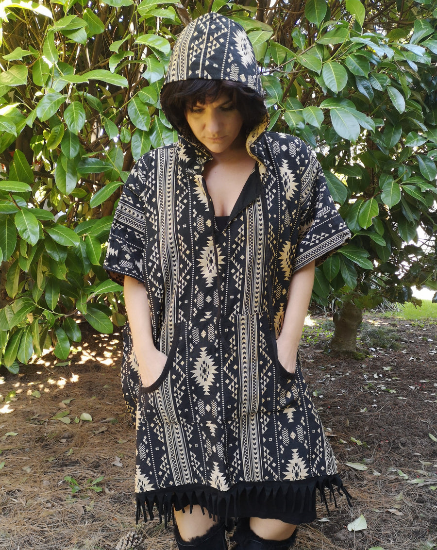 earth tone poncho, pull over, festival wear