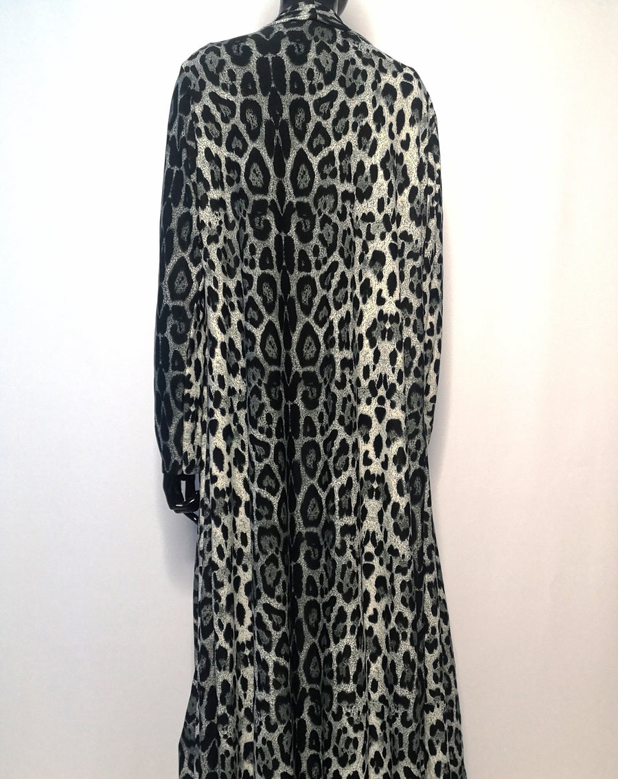 Long cardigan robe with grey leopard print pattern, back view, primary dark stripe is off centred to the left