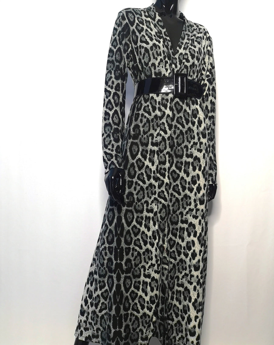 Long cardigan robe with grey leopard print pattern, belt at waist, long sleeves, front view