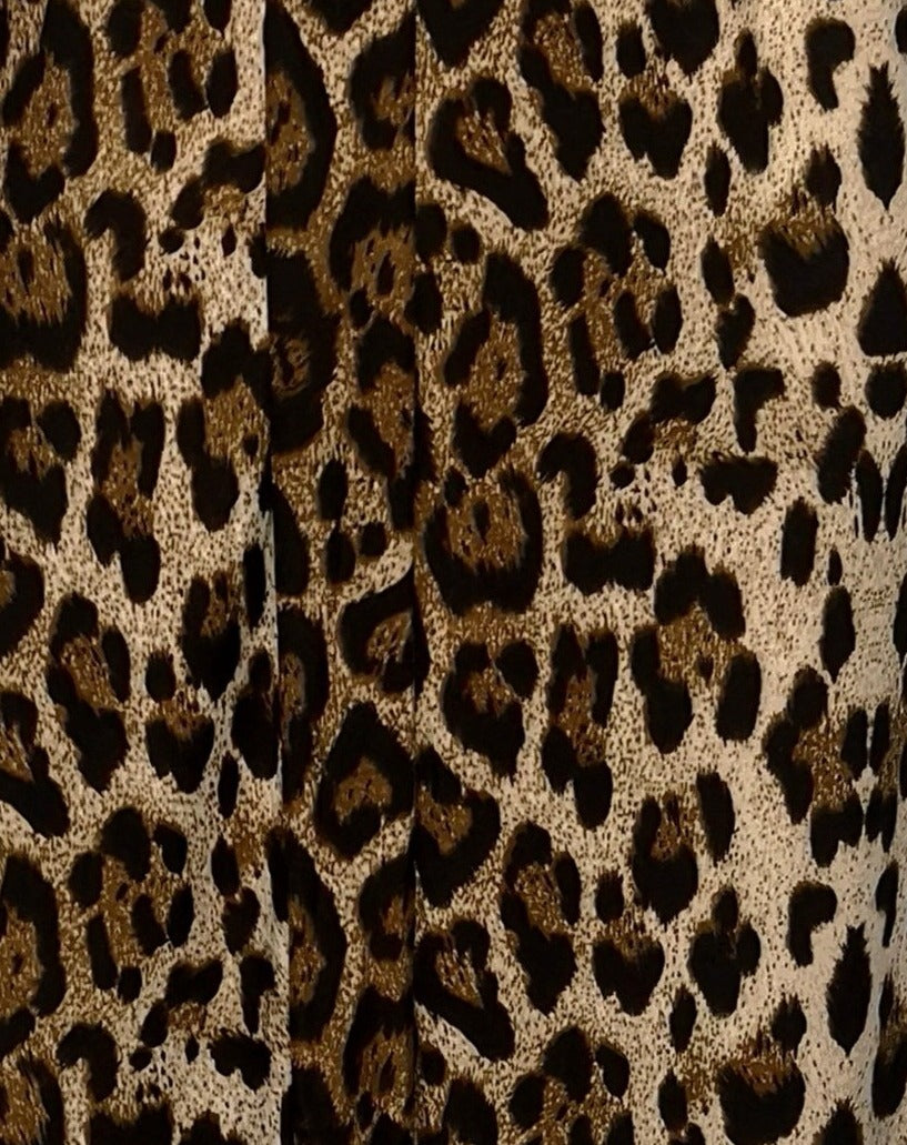 closeup of brown leopard print pattern of wild cardigan