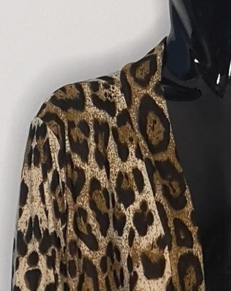 cardigan leopard print shoulder closeup
