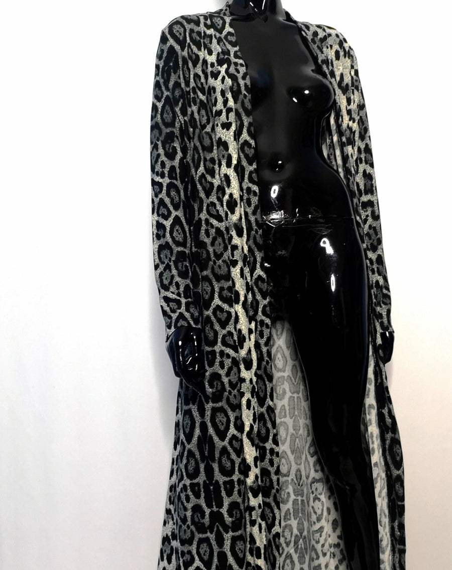 Long cardigan robe with grey leopard print pattern, long sleeves, front view hanging open, sexy style