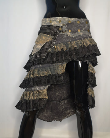 steampunk denim grunge skirt