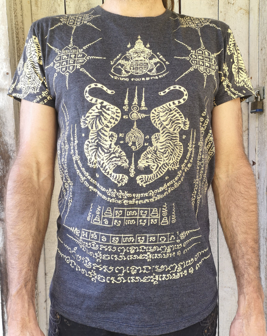 WORK t-shirt with crawling twin tigers surrounded by thai script