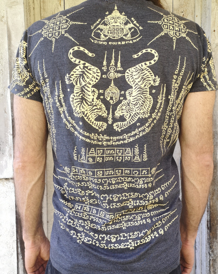 WORK t-shirt with crawling twin tigers surrounded by thai script, back view