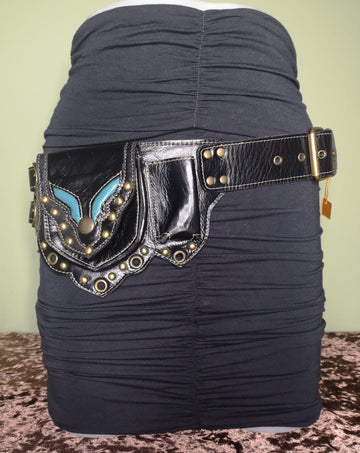black leather hip belt with multiple pockets and a blue accent strip festival biker