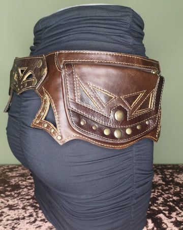 brown leather hip festival belt