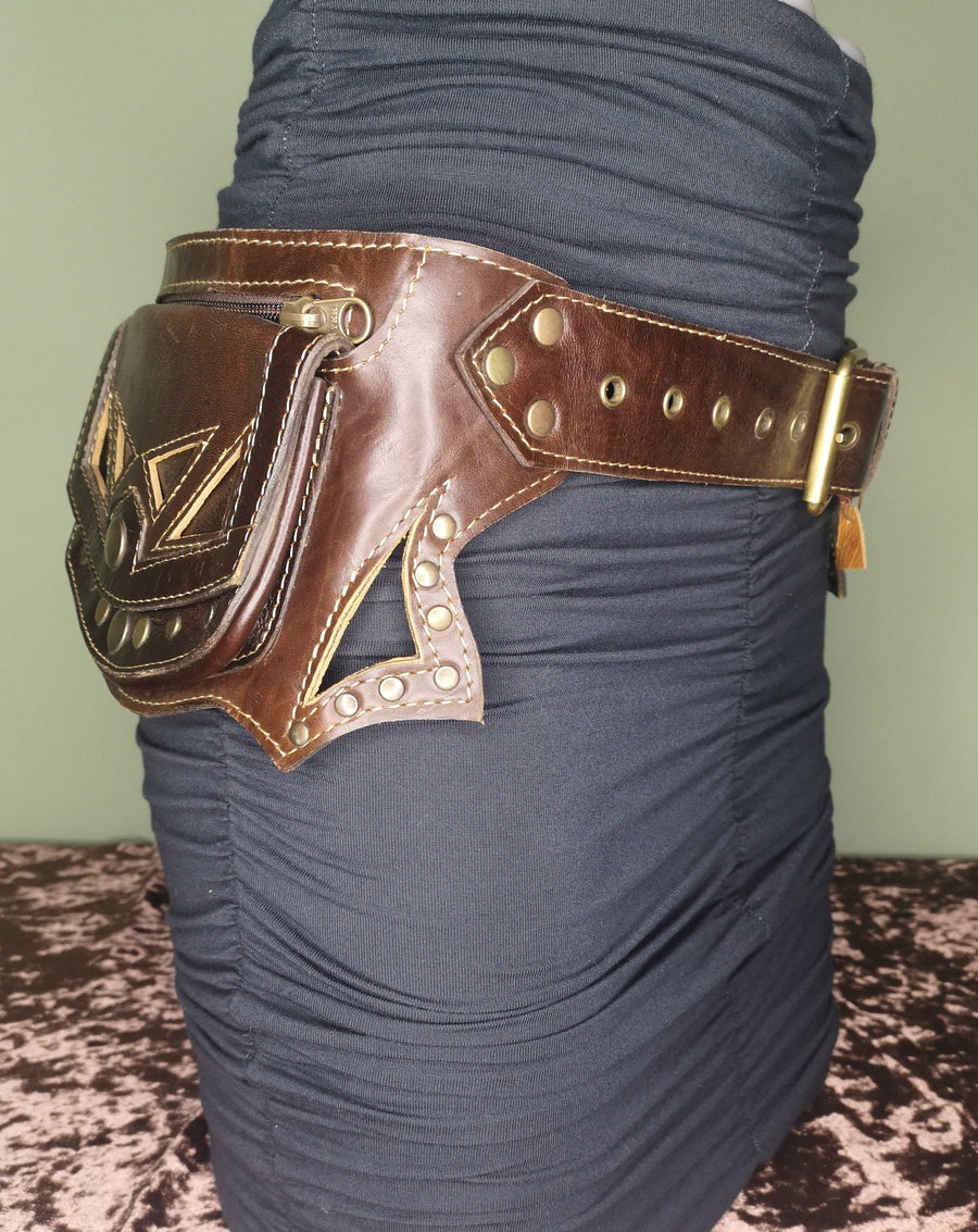 Brown Studded Leather Utility Belt