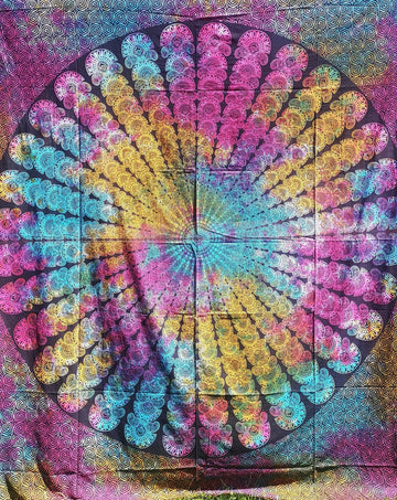 Pink/Blue/Yellow Tie Dye Mandala with Spiral Edges
