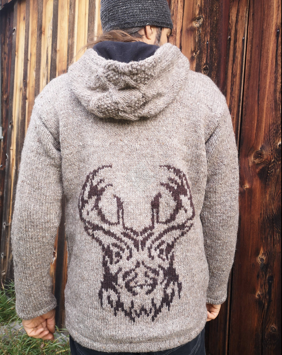 wool jacket, nepal wool, celtic knot work on hood, deer head on back, trees on front, light brown earth colour