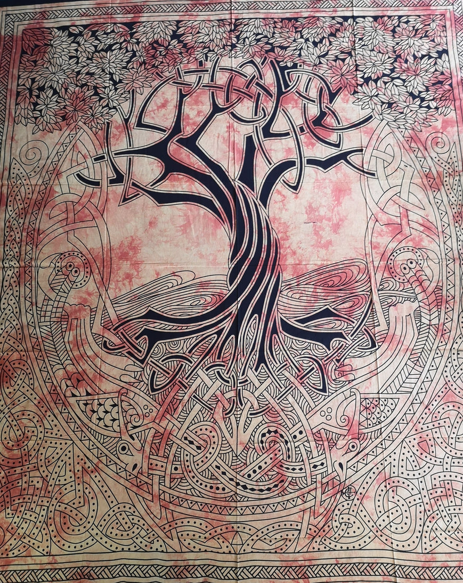 celtic tree knot work indian tapestry, bed cover, wall hanging