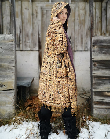 brown beige and gold  camel print festival robe with hood and intricate fabric design