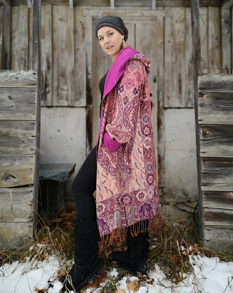 paisley pattern, robe jacket, long coat, princess power, attention grabber, boho chic, boho, designer jacket, long coat, high fashion, head turner, unique burning man, shambhala style rose coloured robe jacket