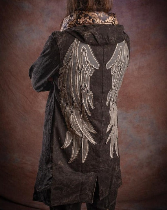 underground grunge long denim jacket with brocade detailing, many pockets, wings on back