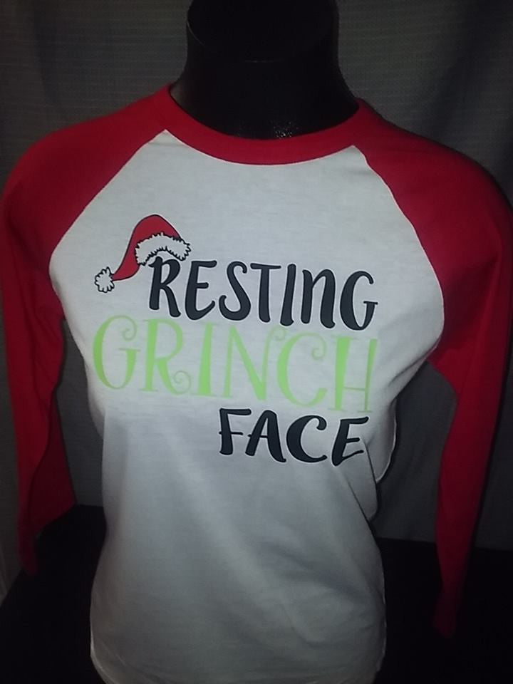 Grinch Face 3/4 Sleeve Raglan
