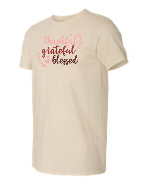 Thankful Grateful Blessed Design T shirt
