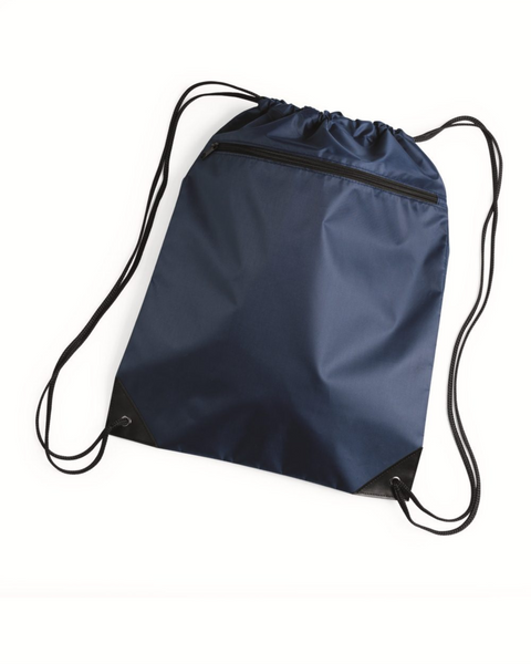 Black Zippered Drawstring Bag