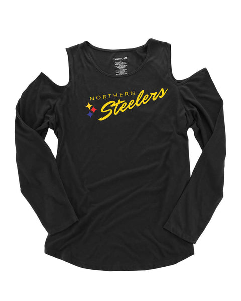 Steelers Ladies Long Sleeve Cold Shoulder Top