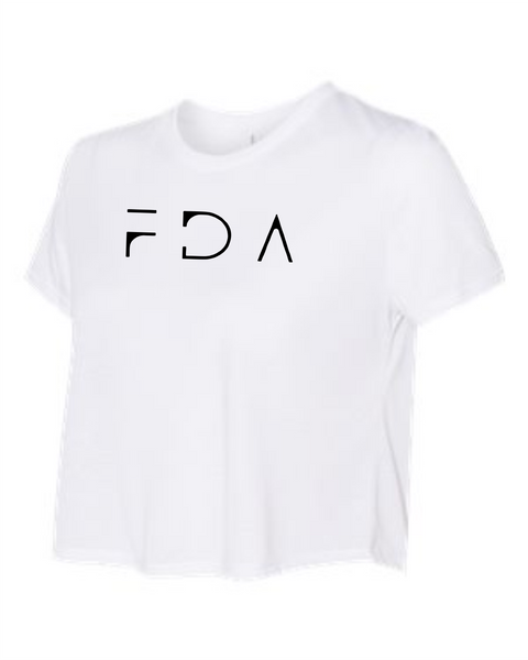 FDA Flowy cropped White short sleeve Tee