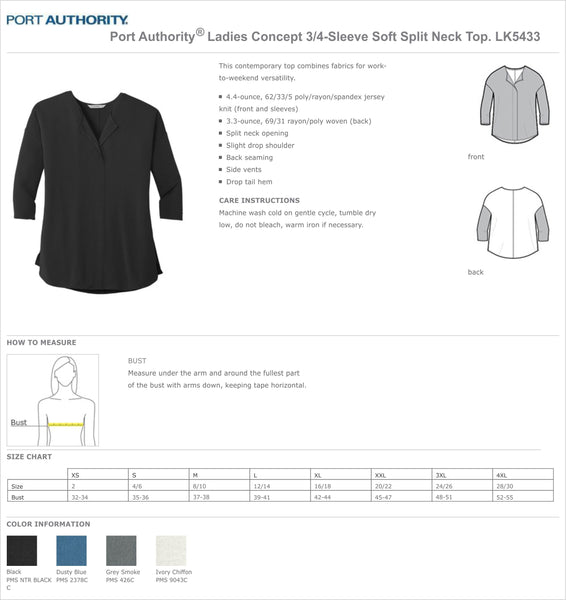 Embroidered Ladies 3/4 Sleeve Splitneck Top
