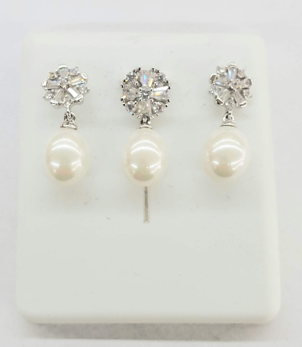 Sterling Silver Pearl and CZ set - SSCZ-001