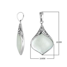 Load image into Gallery viewer, Sterling Silver 34mm Pear shape Bali Pendant with Decorated Bail.