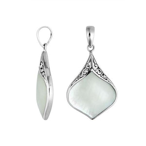 Sterling Silver 34mm Pear shape Bali Pendant with Decorated Bail.