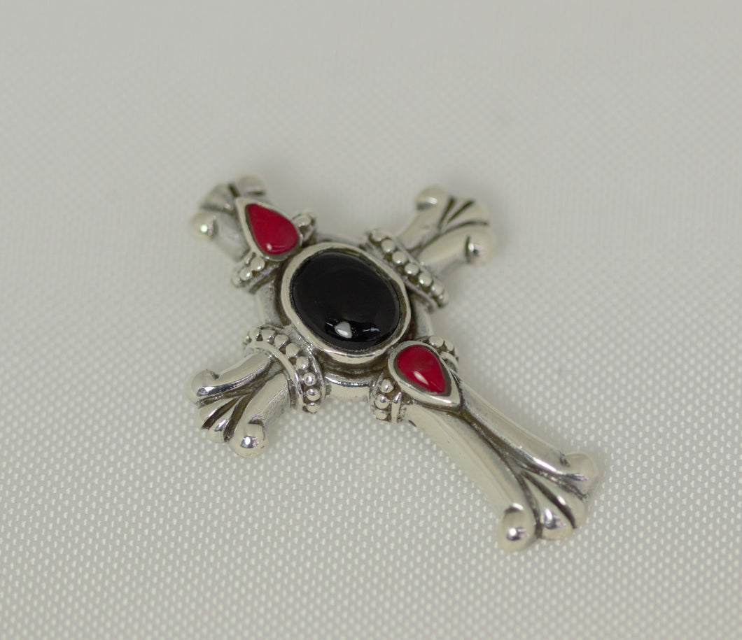 Sterling Silver 39X29mm Center Black Onyx and Red Stones Cross Pendant