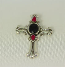 Load image into Gallery viewer, Sterling Silver 39X29mm Center Black Onyx and Red Stones Cross Pendant