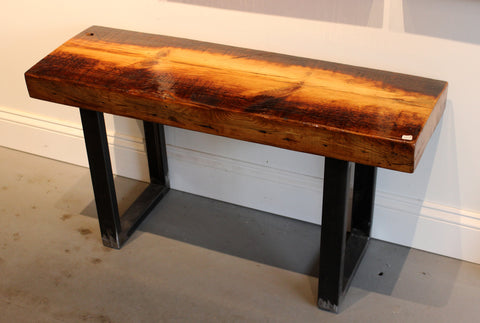 1840 Creative: steel legs on single timber reclaimed wood bench - Arc Academy