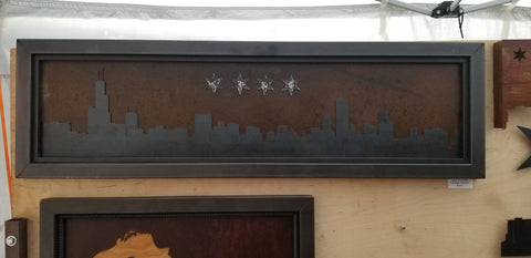 Chicago Skyline - ground steel back patina sky - Arc Academy