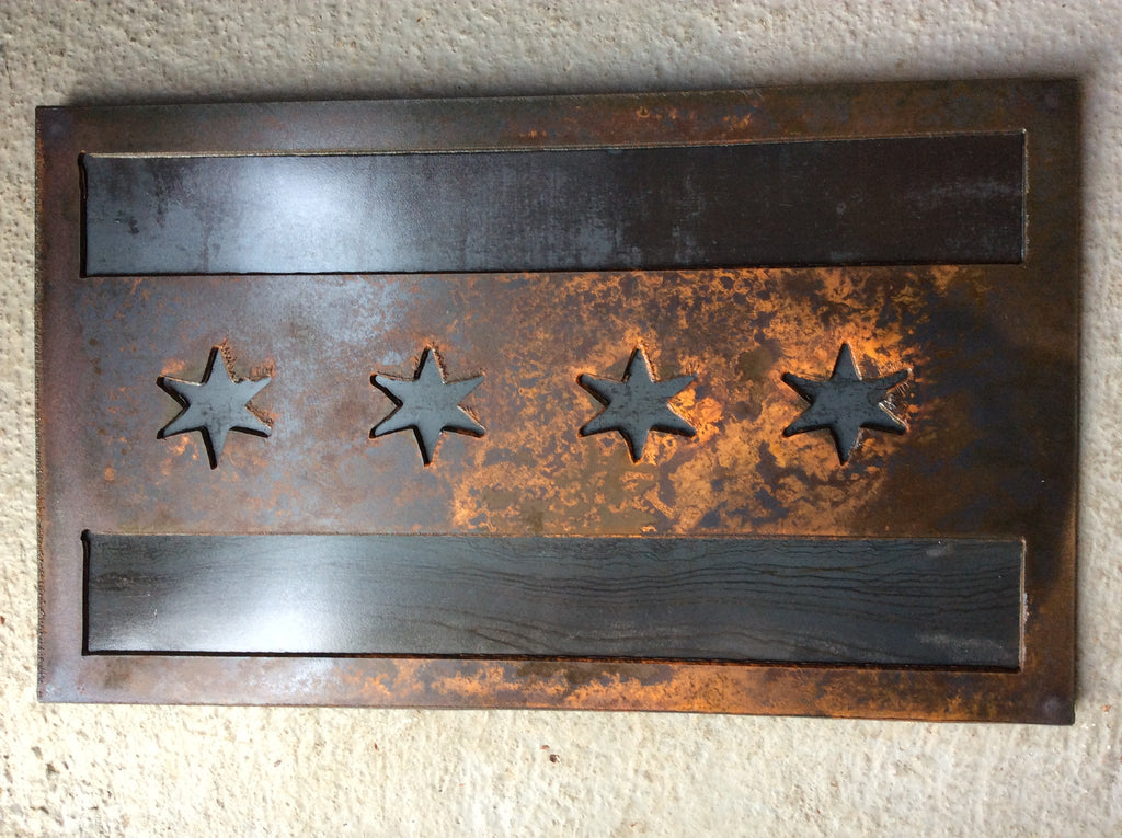Chicago Flag - Dark Rust Patina with Metal Backing - Arc Academy
