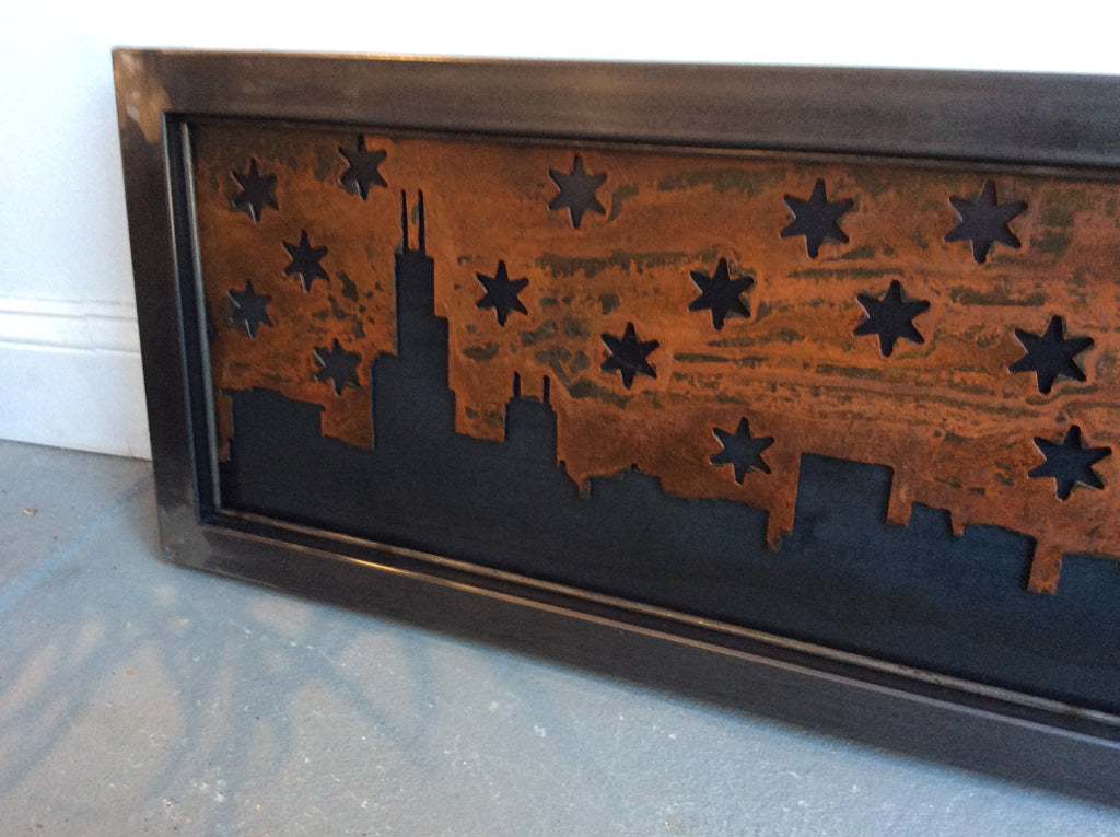 Starry Chicago Skyline - Steel with Patina background - Arc Academy
