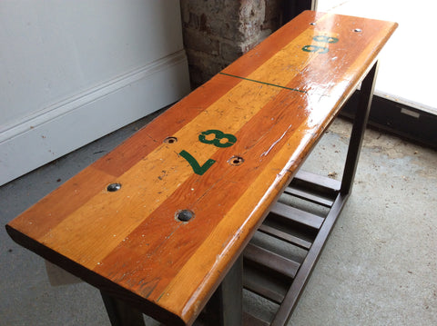 Reclaimed bleacher bench with steel legs - Arc Academy