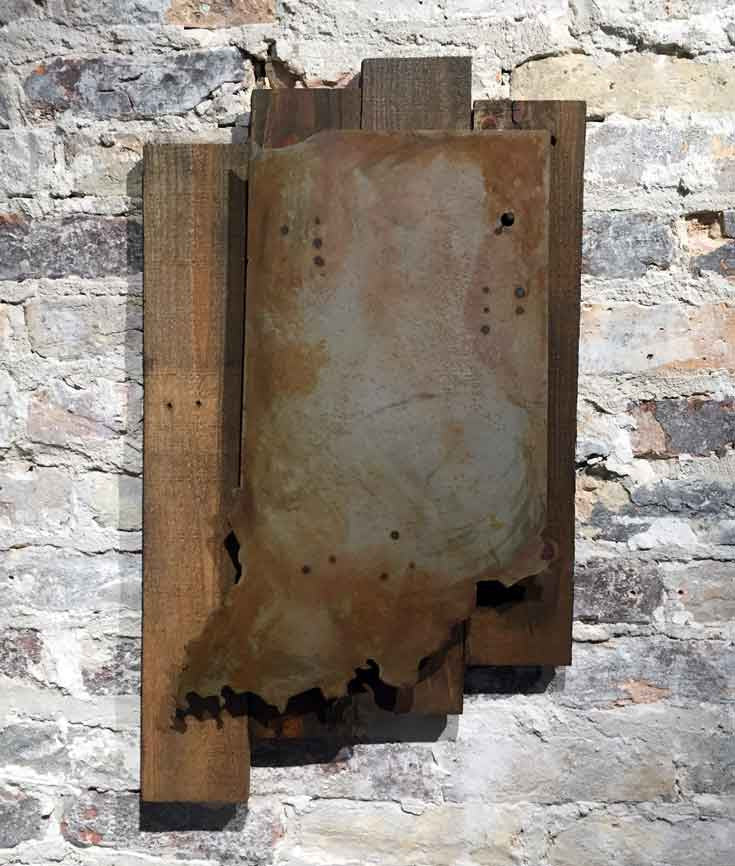 Fort Wayne, Indiana - Rustic steel cutout raised off reclaimed wood backing - Arc Academy