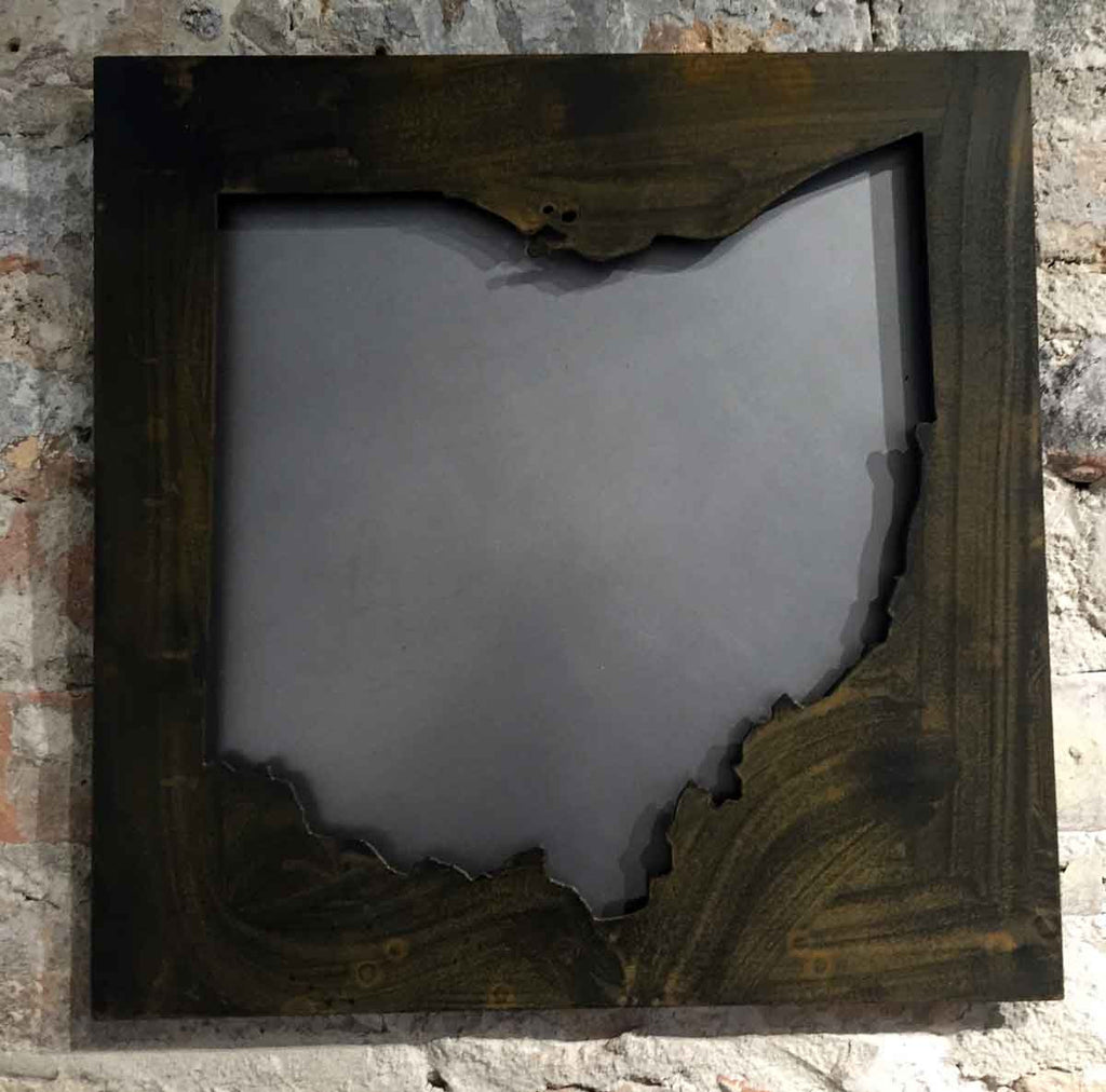 Ohio black steel raised off rust patina cutout - Arc Academy