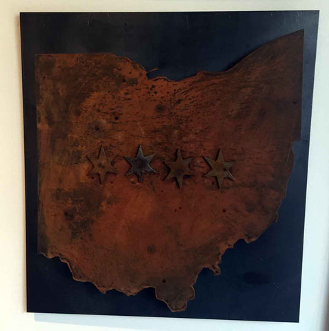 Ohio - heavy rust patina Ohio with four chicago stars raised off black steel - Arc Academy