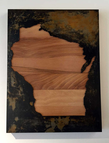 Wisconsin - Tarnished w/ butcher block backing - Arc Academy