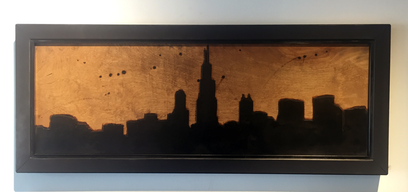 Chicago Skyline - Steel with Burned Wooden Backing - Arc Academy
