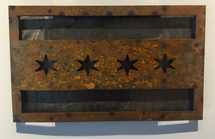 Chicago Flag Rust Patina raised off metal backing - Arc Academy