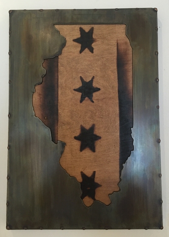 Illinois Burnt Stars Steel Wall Art - Arc Academy