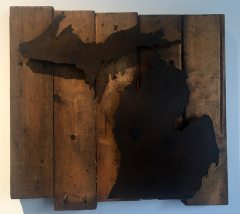 Michigan with Rust Patina raised off reclaimed wood backing - Arc Academy